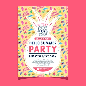 Summer party poster template with pineapple shape