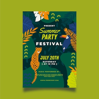 Summer party poster template with toucan and leopard