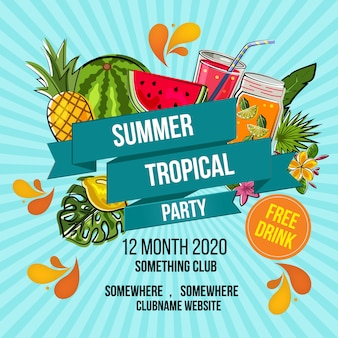 Summer party poster template with tropical design