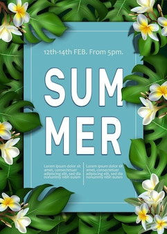 Summer party poster template with tropical leaves frame