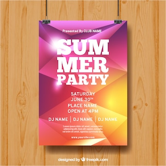 Summer party poster with abstract style