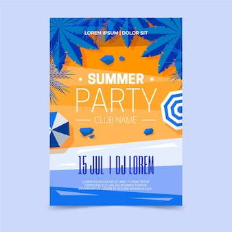 Summer party poster with beach