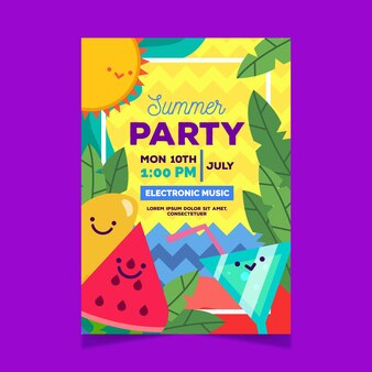 Summer party poster with cocktails and watermelon