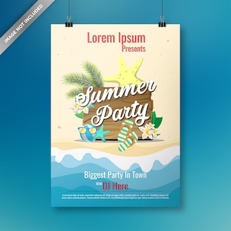 Summer party poster with flat elements