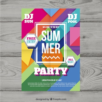 Summer party poster with geometric style