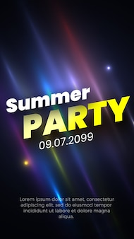 Summer party poster with glowing colorful stripes.