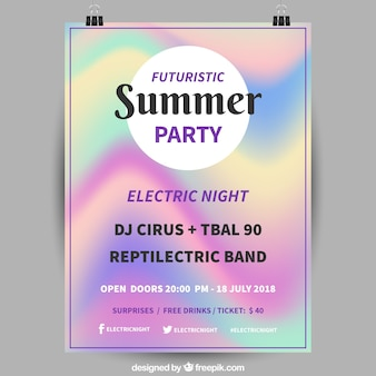 Summer party poster with holographic effect