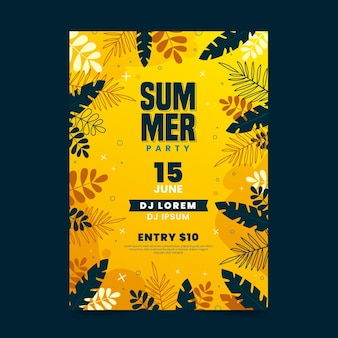 Summer party poster with leaves