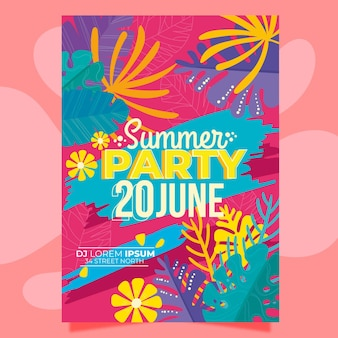 Summer party poster with multicolored leaves