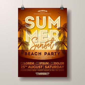 Summer party poster with palm trees on sunset landscape
