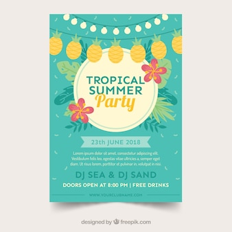 Summer party poster with plants and pennants