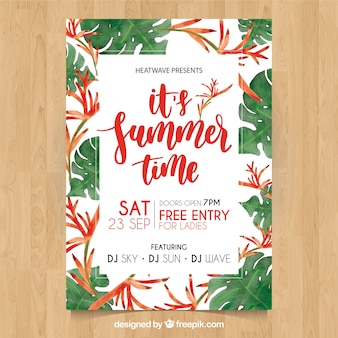 Summer party poster with pretty tropical watercolor flowers