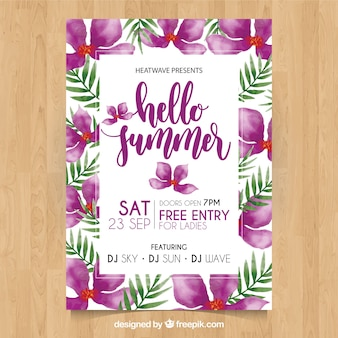 Summer party poster with purple watercolor flowers