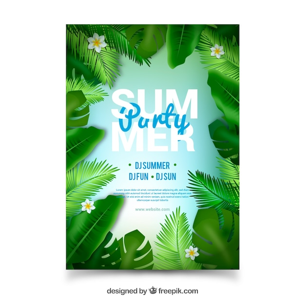 Summer party poster with realistic leaves