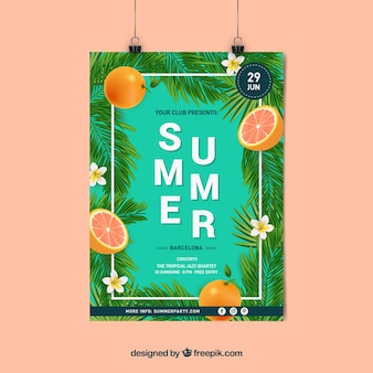Summer party poster with realistic plants