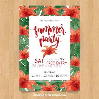 Summer party poster with red watercolor flowers