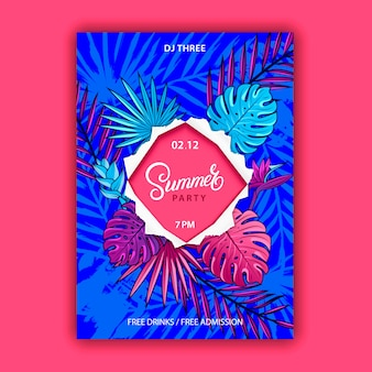 Summer party poster with squared ripped paper frame.