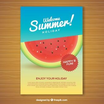 美しいスイカの夏のパーティーポスター