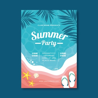 Summer party poster with tropical illustrations