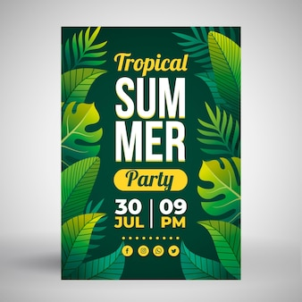 Summer party poster with tropical leaves