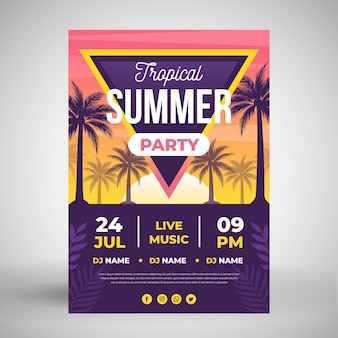 Summer party poster with tropical trees