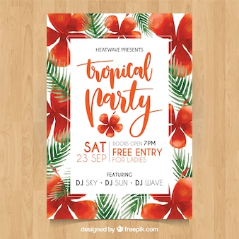 Summer party poster with watercolor tropical flowers and leaves