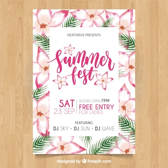 Summer party poster with watercolor tropical flowers