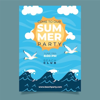 Summer party poster with waves and birds