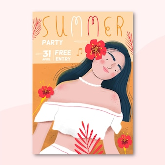 Summer party poster with woman