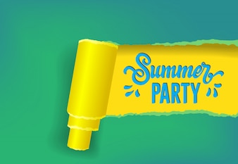 Summer party seasonal banner in yellow, green and blue colors.