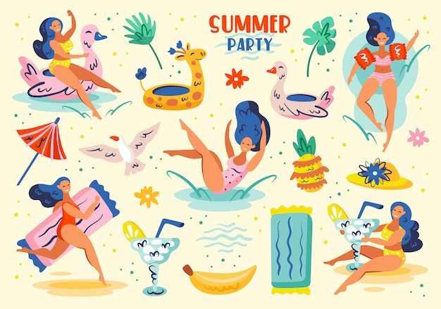 Summer party set of elements, clip art. summer seaside beach pool party. young women, drinks, fruits, animals, clothing. flat  illustration set