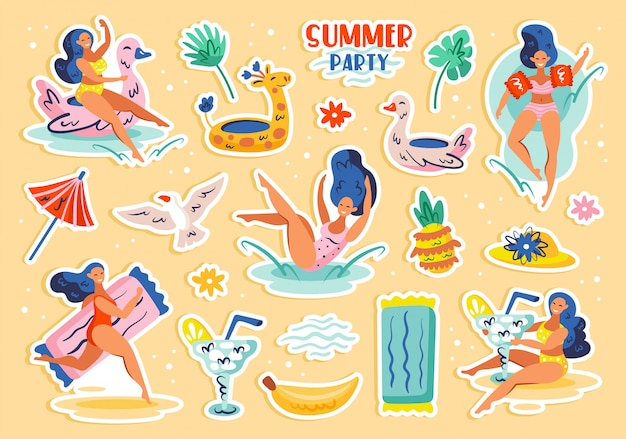 여름 파티 요소, 클립 아트의 설정. 여름 해변 해변 수영장 파티. 젊은 여성, 음료, 과일, 동물, 의류. 고립 된 평면 그림 아이콘 스티커