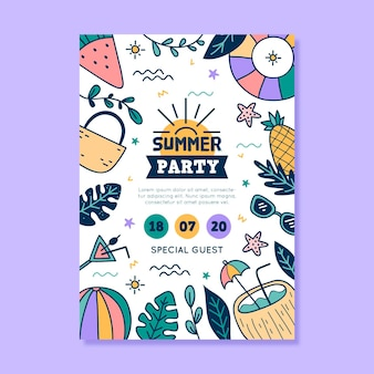 Summer party stationery poster template