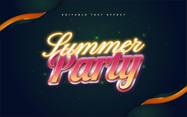Summer party text in colorful retro style and glowing neon effect. editable text style effect