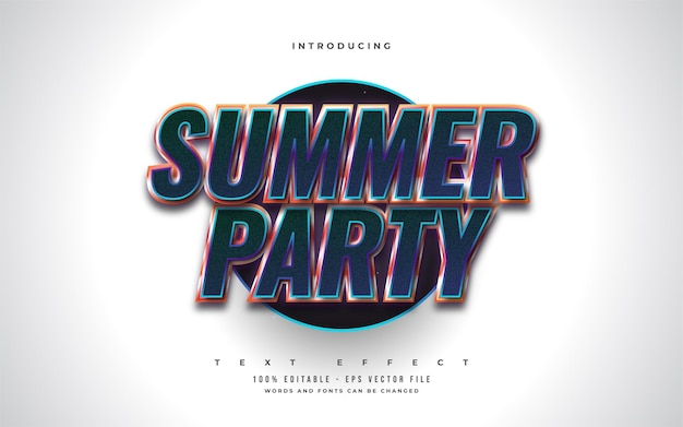 Summer party text in colorful retro style with 3d embossed effect. editable text style effect