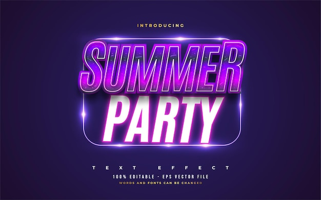 Summer party text in colorful retro style with glowing neon effect. editable text style effect