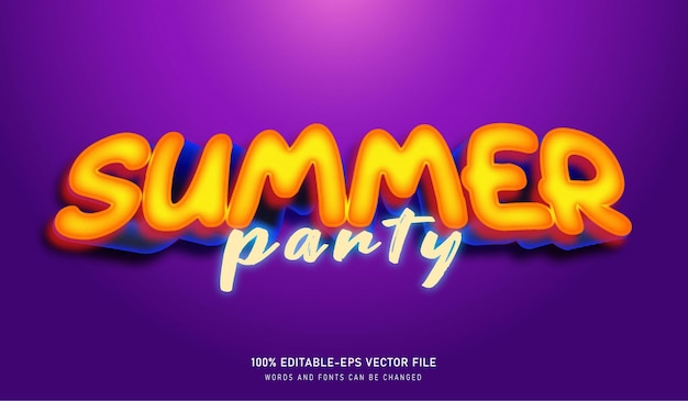 Summer party text effect font template
