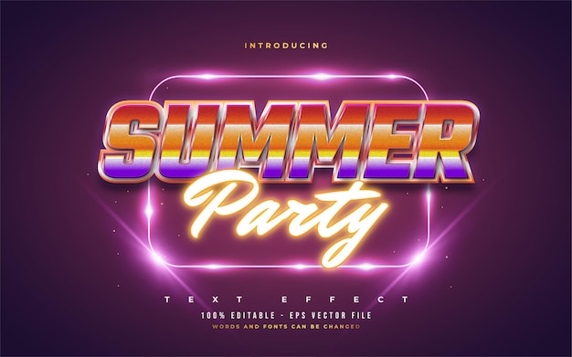 Летняя вечеринка текст в красочном стиле ретро и светящийся неоновый эффект. редактируемый эффект стиля текста