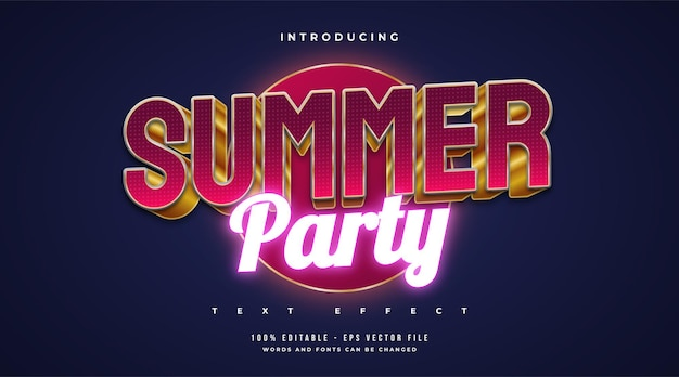 Summer party text in red and gold style and glowing neon effect. editable text effect