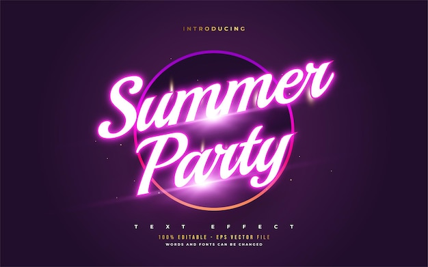 Summer party text with glowing neon effect. editable text style effects