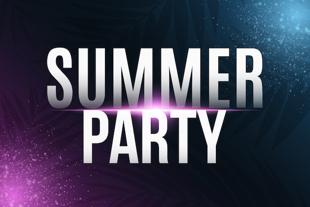 Summer party text with neon light effect
