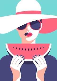 Летняя вечеринка отпуск и концепция путешествий женщина, держащая арбуз векторные иллюстрации