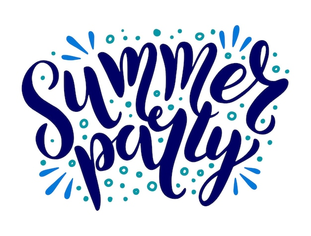 Summer party - vector logo text with doodle sun rays. typography for poster with hand drawn summer lettering isolated on white background. vector illustration for invitation, postcard, banner, print.
