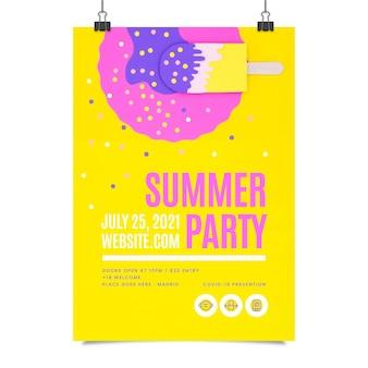写真付きの紙のスタイルの夏のパーティー垂直ポスターテンプレート