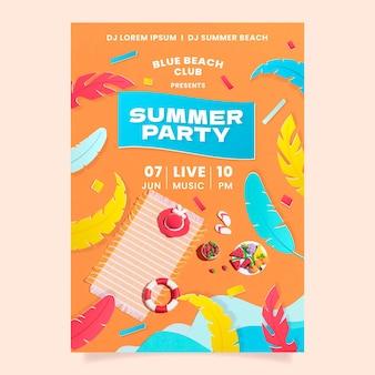 Шаблон вертикального плаката летней вечеринки в бумажном стиле с фото