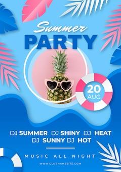 사진과 함께 종이 스타일의 여름 파티 세로 포스터 템플릿