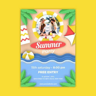 Summer party vertical poster template in paper style with photo