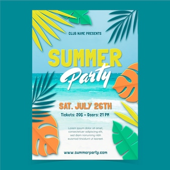Summer party vertical poster template with photo in paper style