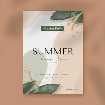 Summer party vertical poster template with photo