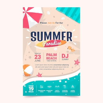 Summer party vertical poster template